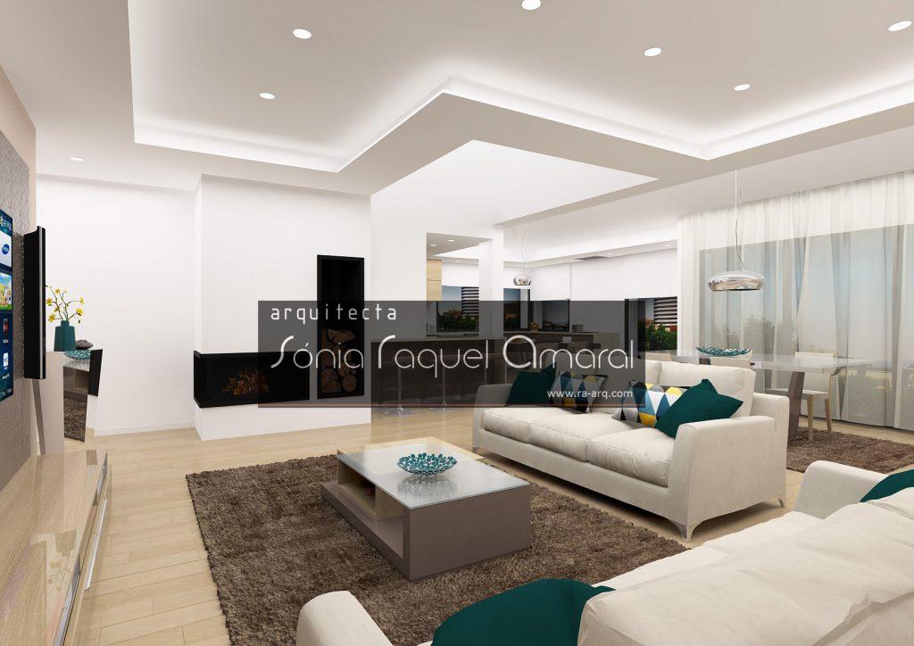 Projecto de Interiores 3D - Habitação em Paris - Issy les Moulineaux: Vista da sala de estar, com recuperado de calor e cozinha ao fundo