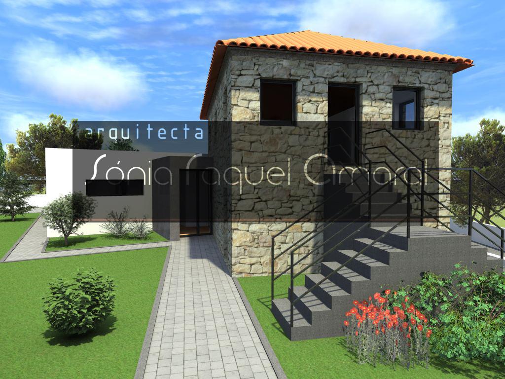 Recuperação e Ampliação de Habitação Unifamiliar - Paços de Ferreira: Vista frontal da casa existente e da ampliação, com a entrada ao centro
