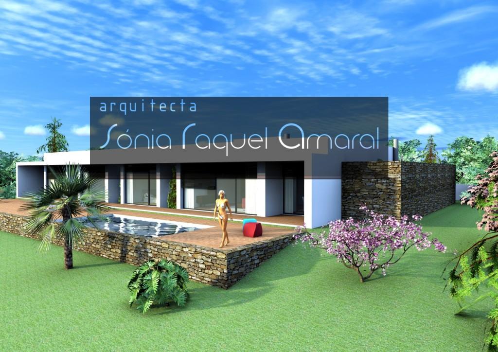 Habitação Unifamiliar térrea: Vista do alçado posterior, com alpendre das salas e quartos e piscina
