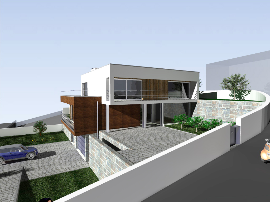 Habitação em desnível em Lousada: o projecto adapta-se à topografia do terreno, ficando a volumetria da habitação perfeitamente integrada