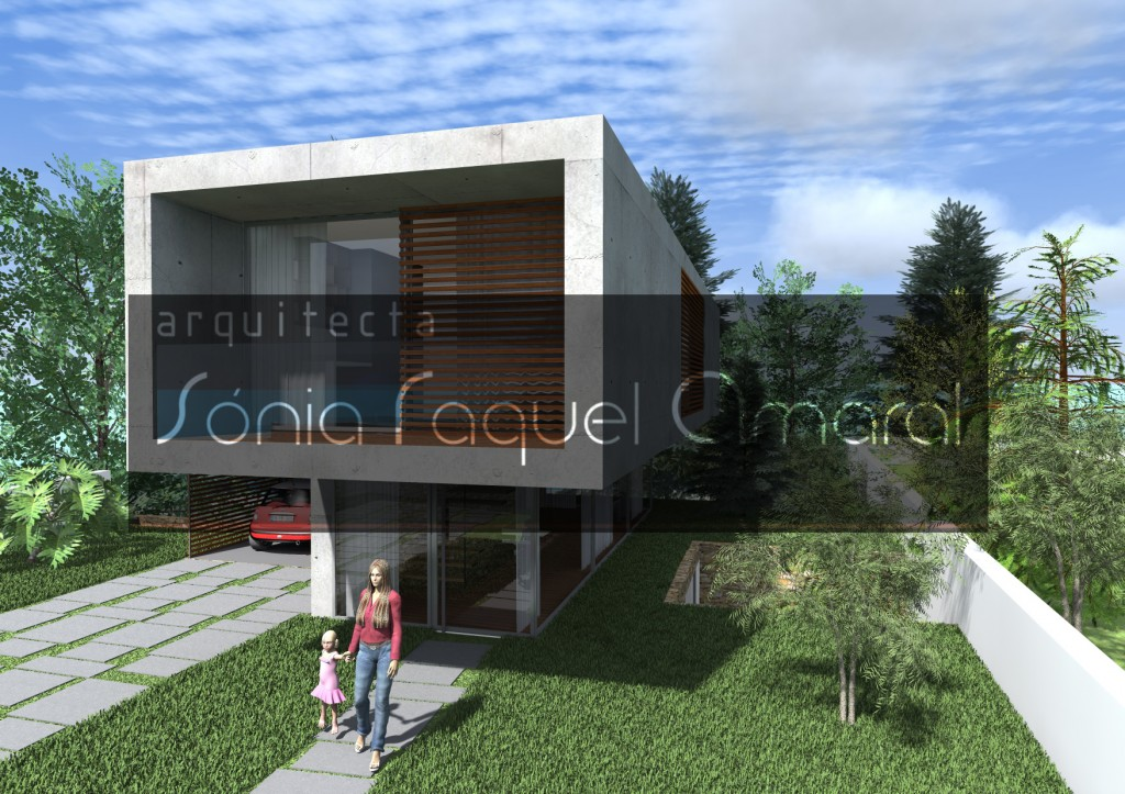 Casas no Bosque - Habitação Unifamiliar, Lote 31 - Freamunde, Paços de Ferreira: Vista frontal da casa, com a entrada principal em destaque