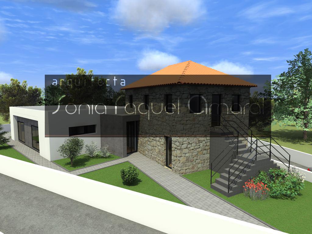 Recuperação e Ampliação de Habitação Unifamiliar - Paços de Ferreira: Vista geral da casa existente, em pedra, e da ampliação