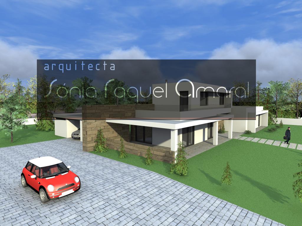 Habitação Unifamiliar - Mangualde: Vista geral da casa, onde se destacam os alpendres e a parede em pedra