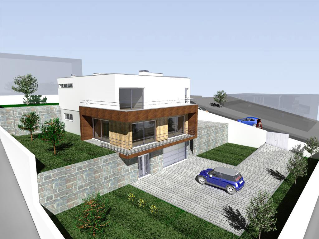 Habitação em desnível em Lousada: o projecto adapta-se à topografia do terreno: cave destinada a estacionamento e arrumos