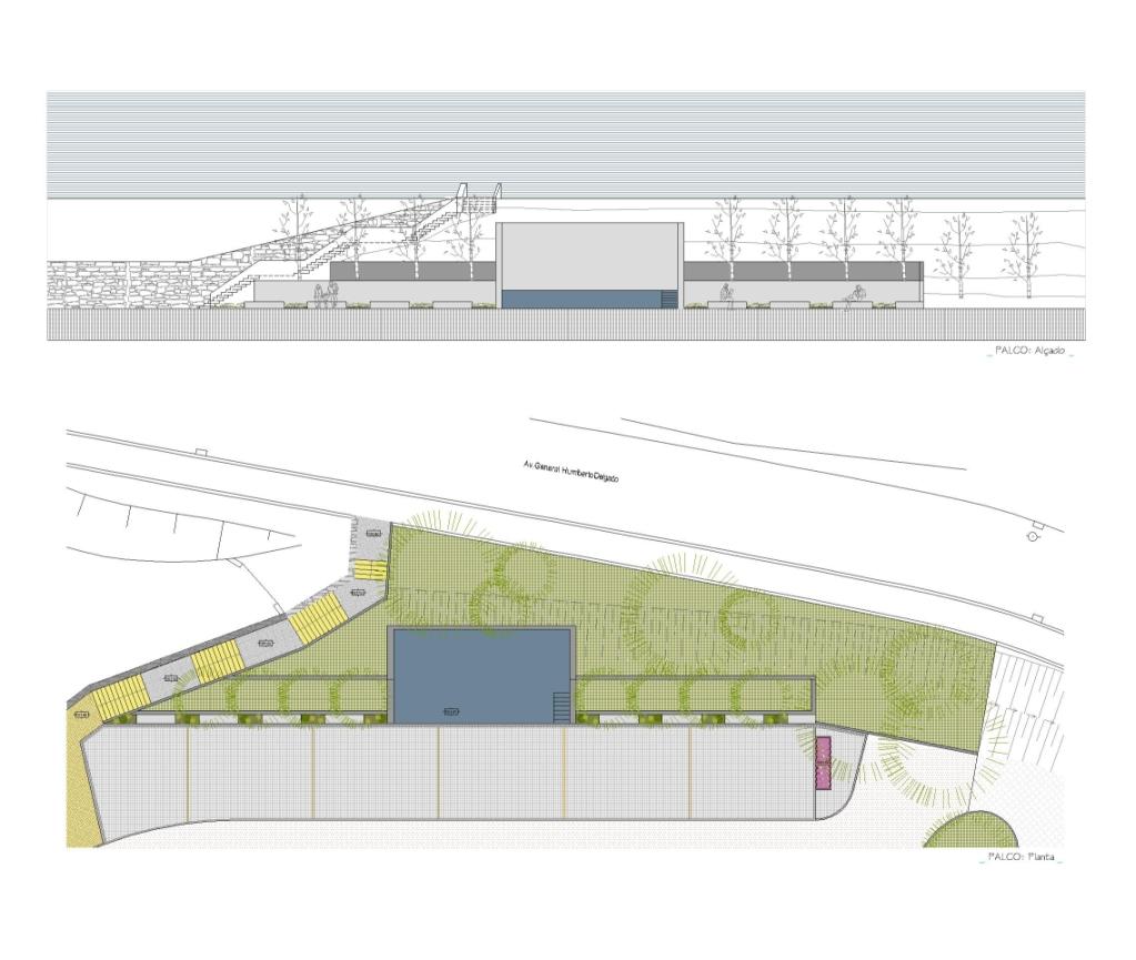 Projecto de Parque da Cidade de Castro Daire: Alçado e planta de pormenor do palco que permite a realização de eventos neste espaço