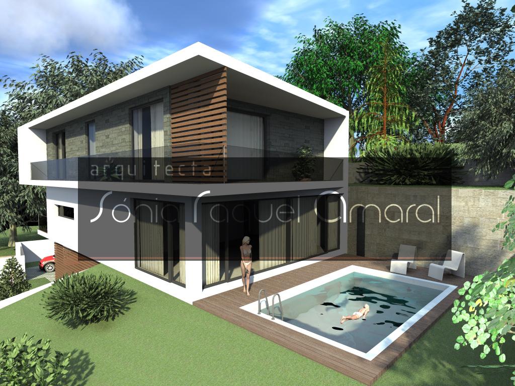 Casas no Bosque - Habitação Unifamiliar, Lote 22 - Freamunde, Paços de Ferreira: Vista lateral da casa, com a zona da sala e piscina em destaque