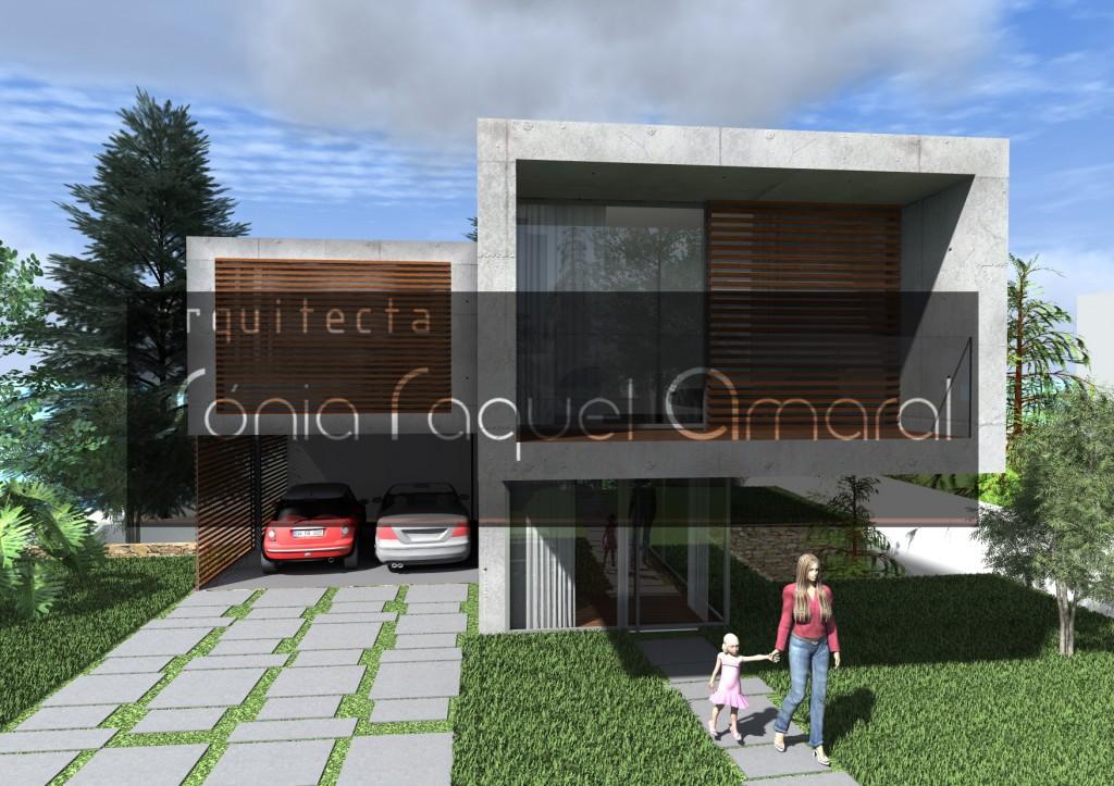 Casas no Bosque - Habitação Unifamiliar, Lote 31 - Freamunde, Paços de Ferreira: Vista frontal da casa, com a entrada principal e o estacionamento