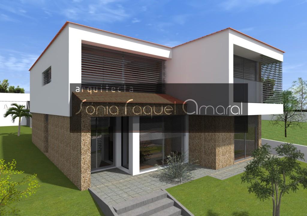 Habitação Unifamiliar, Lote 3 - Pigeiros, Santa Maria da Feira: Vista frontal da casa, com a entrada principal