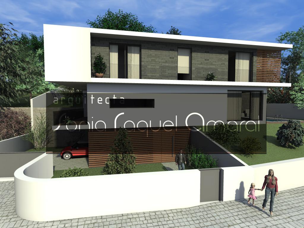 Casas no Bosque - Habitação Unifamiliar, Lote 22 - Freamunde, Paços de Ferreira: Vista frontal da casa, com a entrada principal em destaque