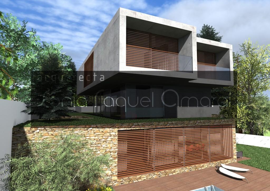 Casas no Bosque - Habitação Unifamiliar, Lote 31 - Freamunde, Paços de Ferreira: Vista posterior da casa, com as portadas em madeira fechadas