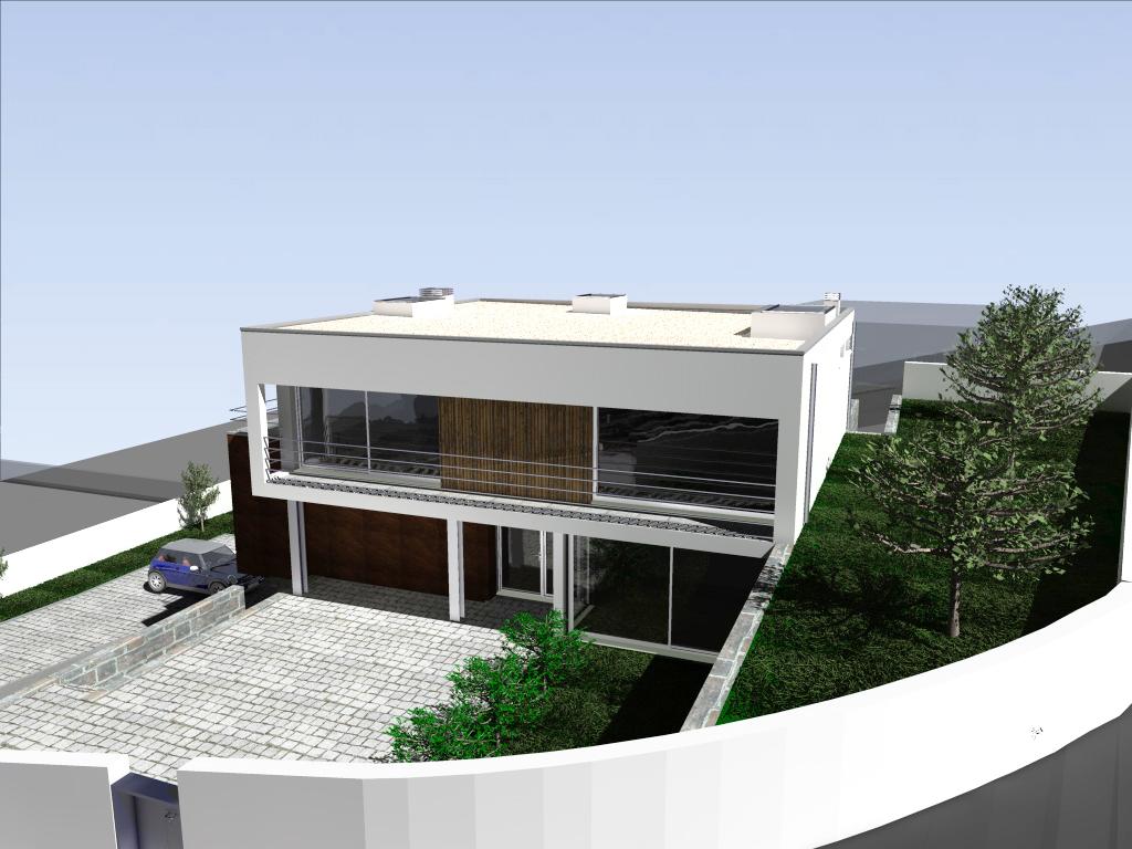 Habitação em desnível em Lousada: o projecto adapta-se à topografia do terreno - entrada pedonal ao nível do R/C
