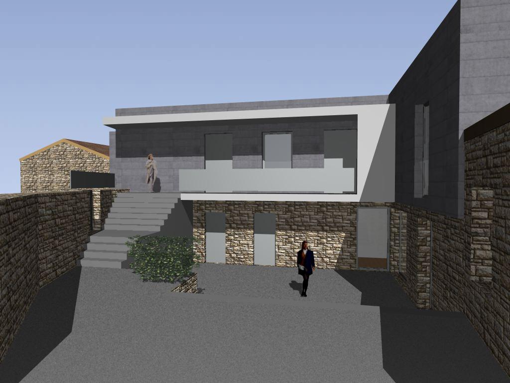 Projecto de Empreendimento Turístico em Espaço Rural em Pendilhe, Vila Nova de Paiva: acesso entre o pátio e os apartamentos