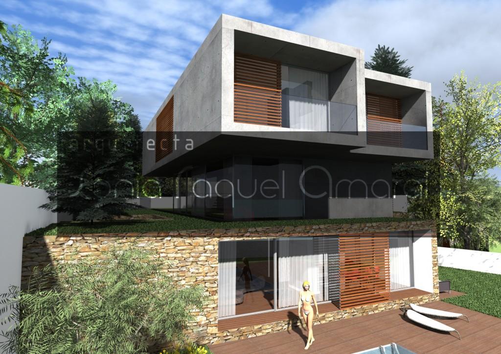 Casas no Bosque - Habitação Unifamiliar, Lote 31 - Freamunde, Paços de Ferreira: Vista posterior da casa, com as portadas em madeira abertas