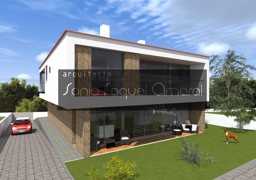 Habitação Unifamiliar, Lote 3 - Pigeiros, Santa Maria da Feira: Vista posterior da casa, onde se privilegia a relação com o exterior