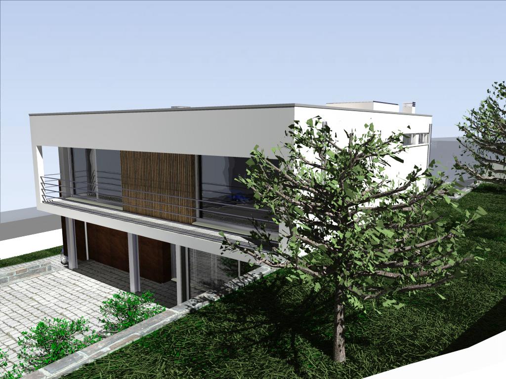 Habitação em desnível em Lousada: o projecto adapta-se à topografia do terreno - o piso superior destina-se à zona privada dos quartos