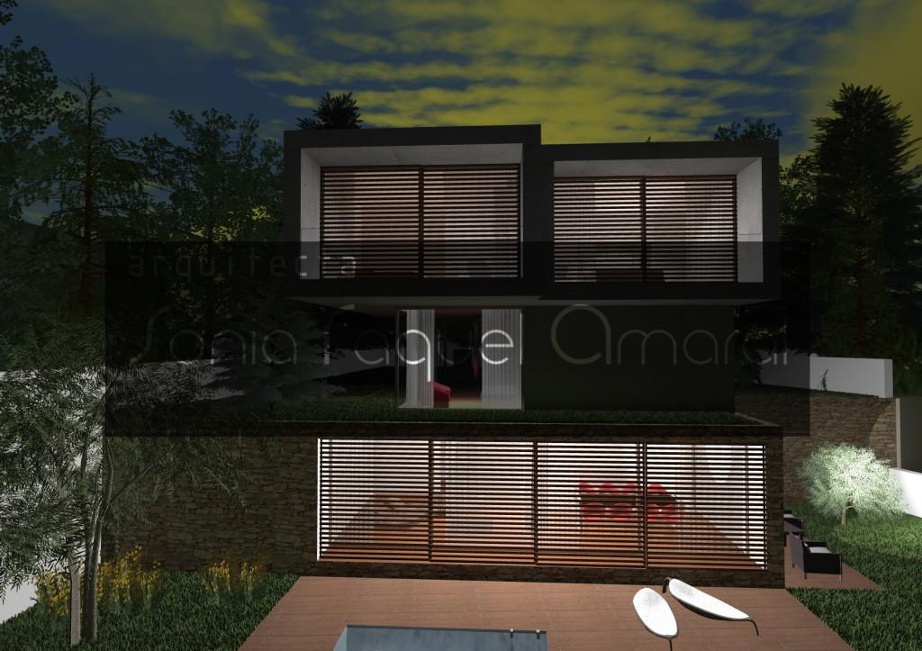Casas no Bosque - Habitação Unifamiliar, Lote 31 - Freamunde, Paços de Ferreira: Vista posterior, com as portadas em madeira fechadas, ambiente nocturno