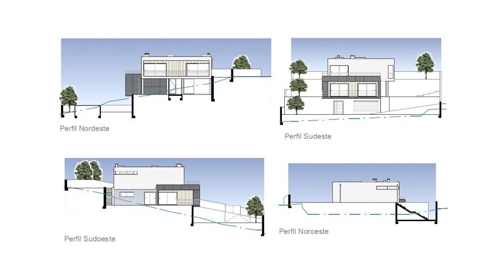 Habitação em desnível em Lousada: o projecto adapta-se à topografia do terreno, como se pode verificar nos alçados