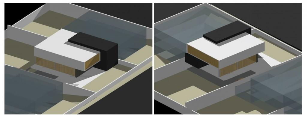 Habitação Unifamiliar Geminada em Paredes: maquete 3D de estudo