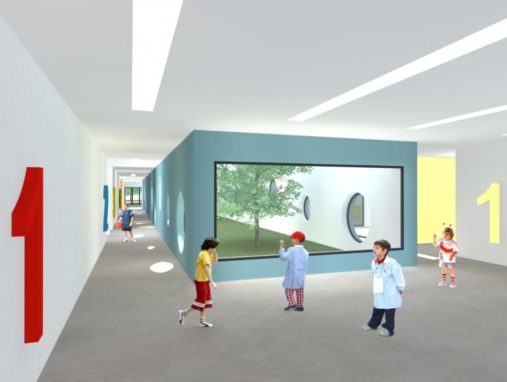 Projecto do Centro Escolar de Termas do Carvalhal: área de distribuição para o 1º Ciclo, à esquerda, e Pré-escolar, à direita