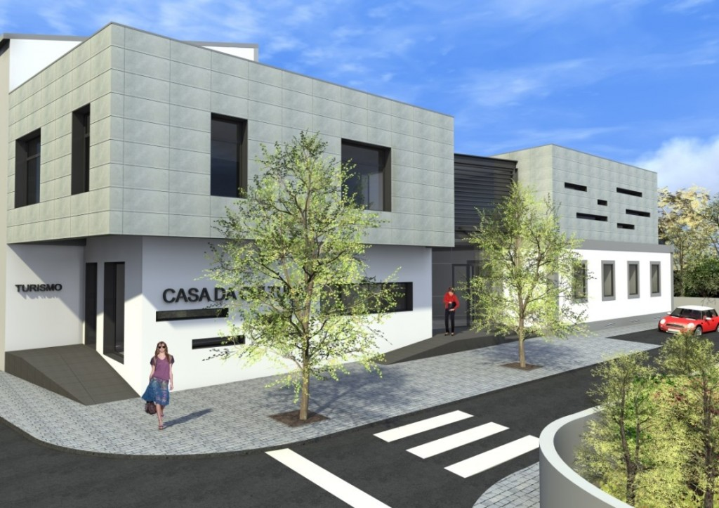 Projecto de Casa da Cultura de Sátão, Viseu: Vista geral do edifício, com revestimento cerâmico em fachada ventilada nos pisos superiores