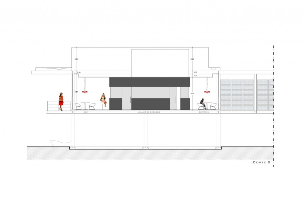 Projecto de adaptação do Pavilhão de Macau a Estabelecimento de Restauração e Bebidas em Loures: corte com o volume da zona de serviços ao centro ladeado pelo espaço de bar e cafetaria