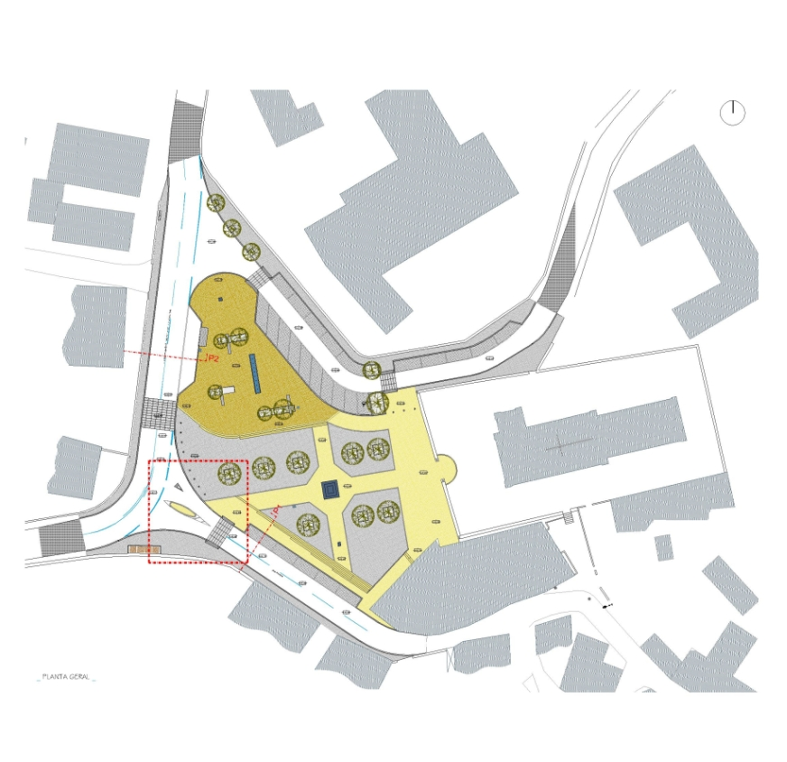 Projecto de Requalificação do Largo de S. João de Lourosa, Viseu: planta geral