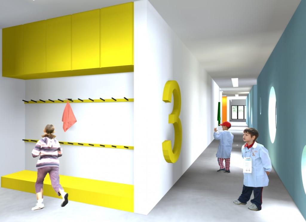 Projecto do Centro Escolar de Termas do Carvalhal: vestiário situado na zona de entrada de uma das salas do 1º Ciclo