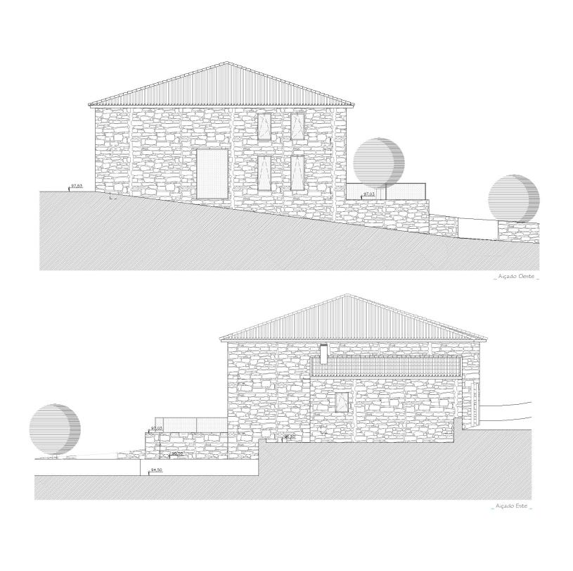 Projecto de Reabilitação de Edifício para Restaurante em Pendilhe: alçados que se mantêm em pedra de granito.