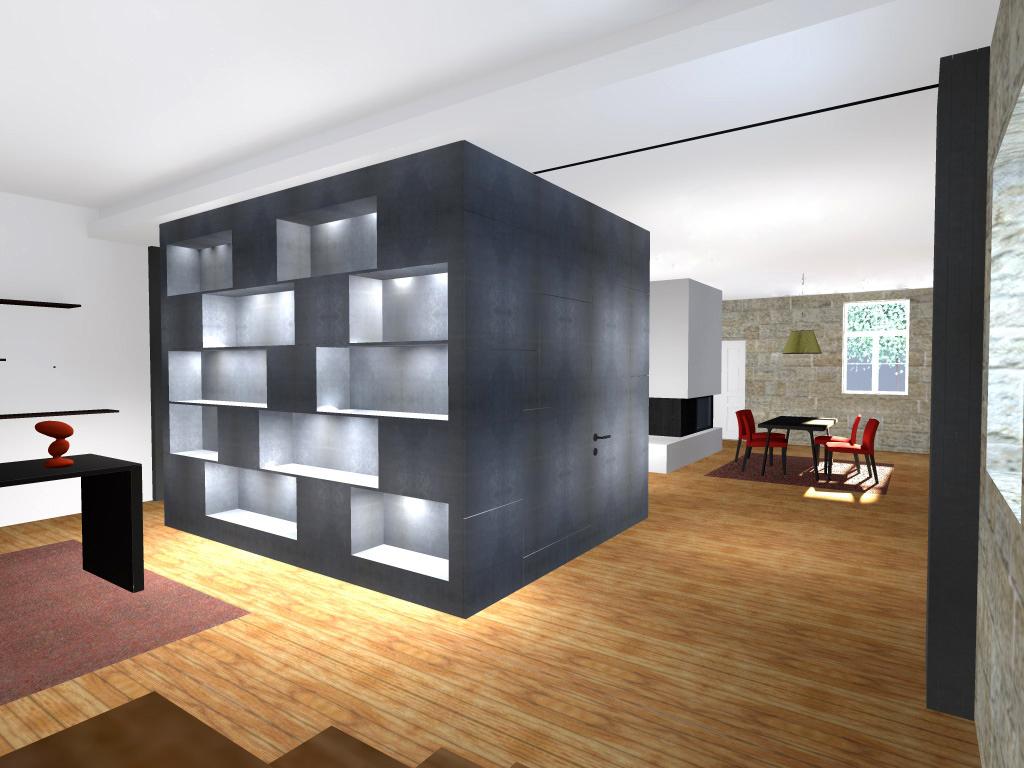"""Projecto de Remodelação de Habitação Unifamiliar em Viseu: vista da circulação com volume central que define o espaço revestido em """"viroc"""" e sala de jantar ao fundo"""