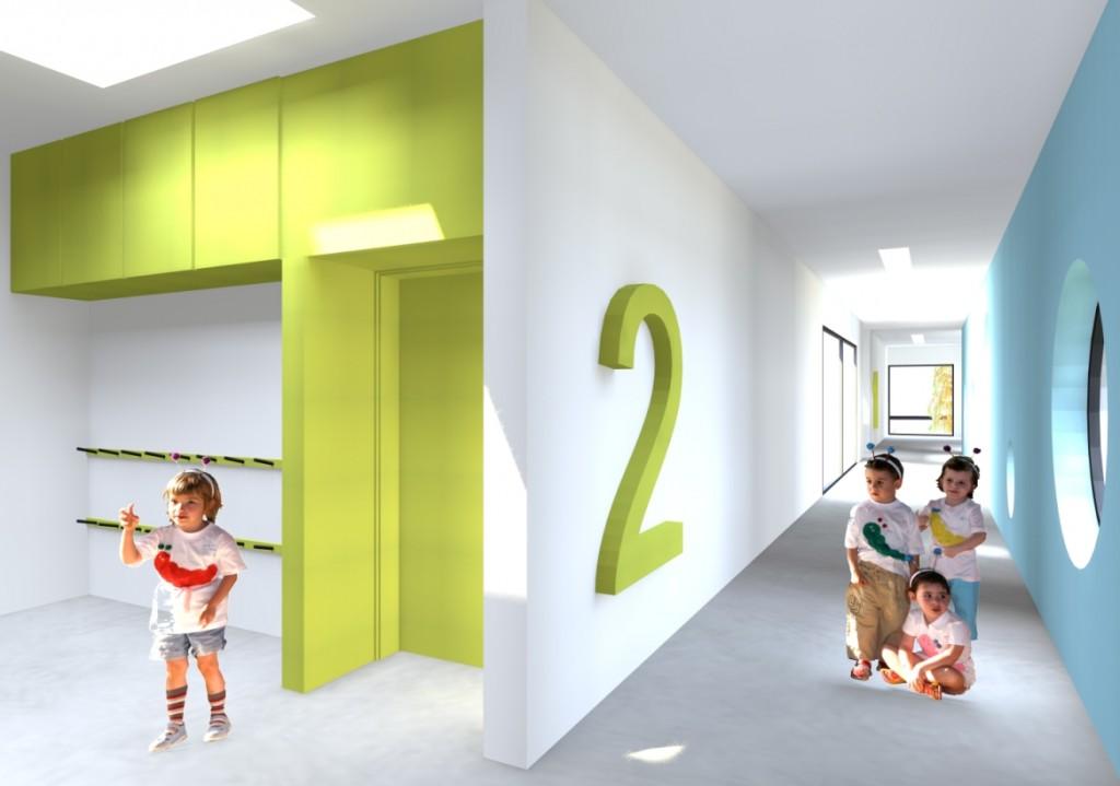 Projecto do Centro Escolar de Termas do Carvalhal: vestiário situado na zona de entrada de uma das salas do Pré-Escolar