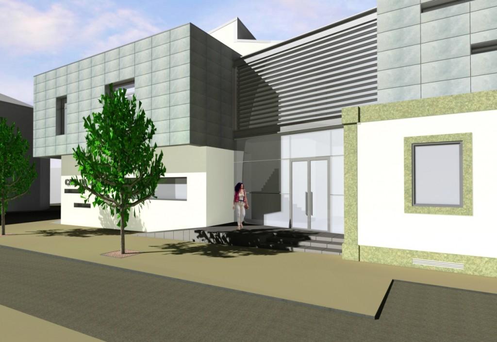 Projecto de Casa da Cultura de Sátão, Viseu: Pormenor da zona de entrada, corpo em vidro que faz a ligação entre o edifício existente e a ampliação