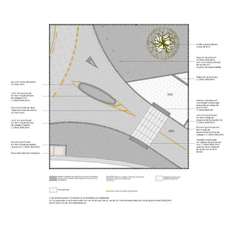 Projecto de Requalificação do Largo de S. João de Lourosa, Viseu: planta de pavimento em pormenor