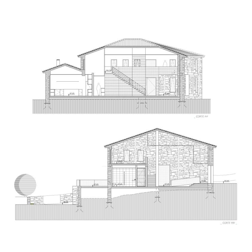 Projecto de Reabilitação de Edifício para Restaurante em Pendilhe: cortes que mostram o interior, dividido em 2 níveis