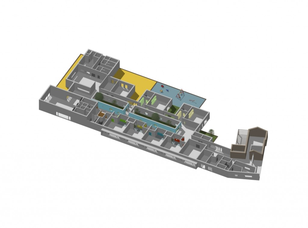 Projecto do Centro Escolar de Termas do Carvalhal: Perspectiva Axonométrica