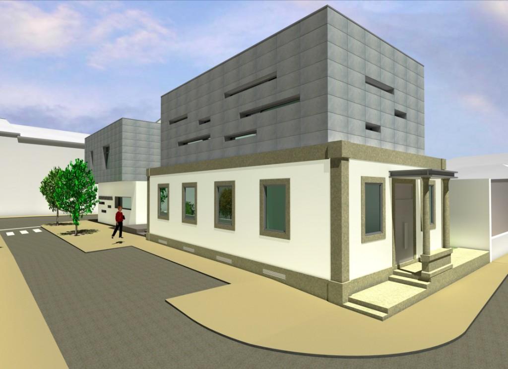 Projecto de Casa da Cultura de Sátão, Viseu: Vista do edifício existente com a ampliação no piso superior, revestida em fachada ventilada com acabamento cerâmico