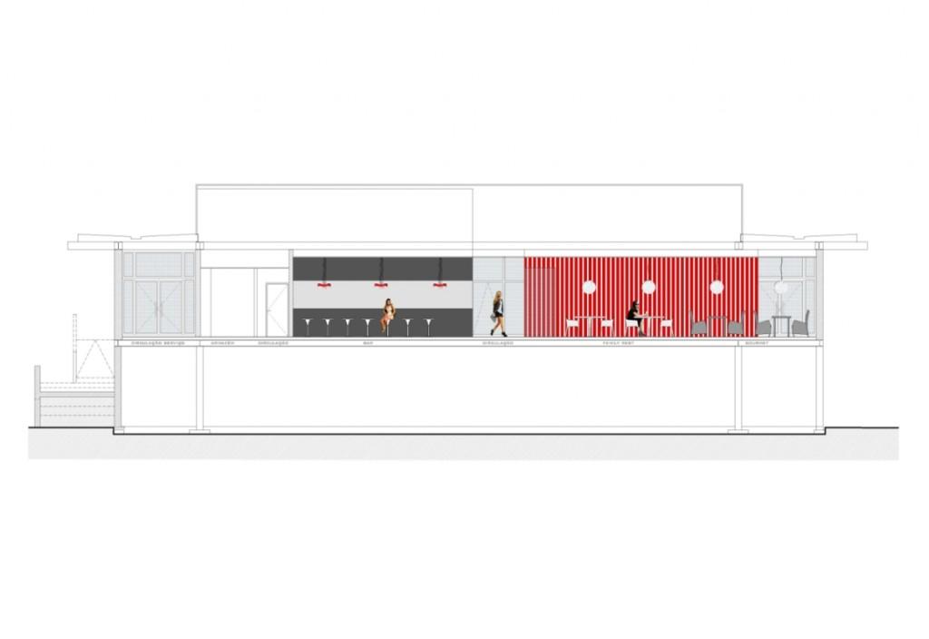 Projecto de adaptação do Pavilhão de Macau a Estabelecimento de Restauração e Bebidas em Loures: corte que mostra a zona de bar, os espaços Family Rest e Gourmet e, ao fundo, a vermelho, o volume das IS