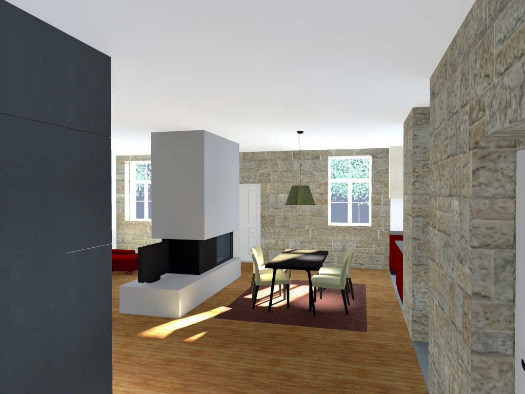 Projecto de Remodelação de Habitação Unifamiliar em Viseu: vista da sala de jantar