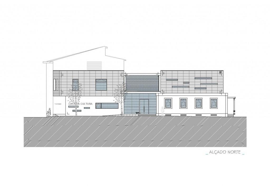 Projecto de Casa da Cultura de Sátão, Viseu: Desenho da fachada principal e integração com o existente