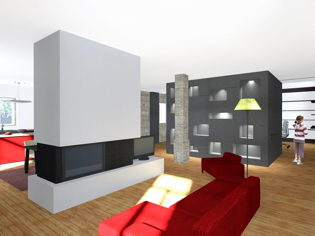 """Projecto de Remodelação de Habitação Unifamiliar em Viseu: vista da sala de estar com volume central que define o espaço revestido em """"viroc"""""""