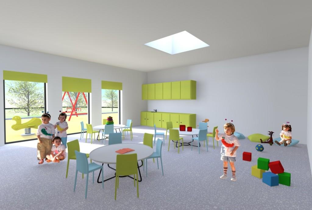 Projecto do Centro Escolar de Termas do Carvalhal: interior de uma das salas do Pré-Escolar