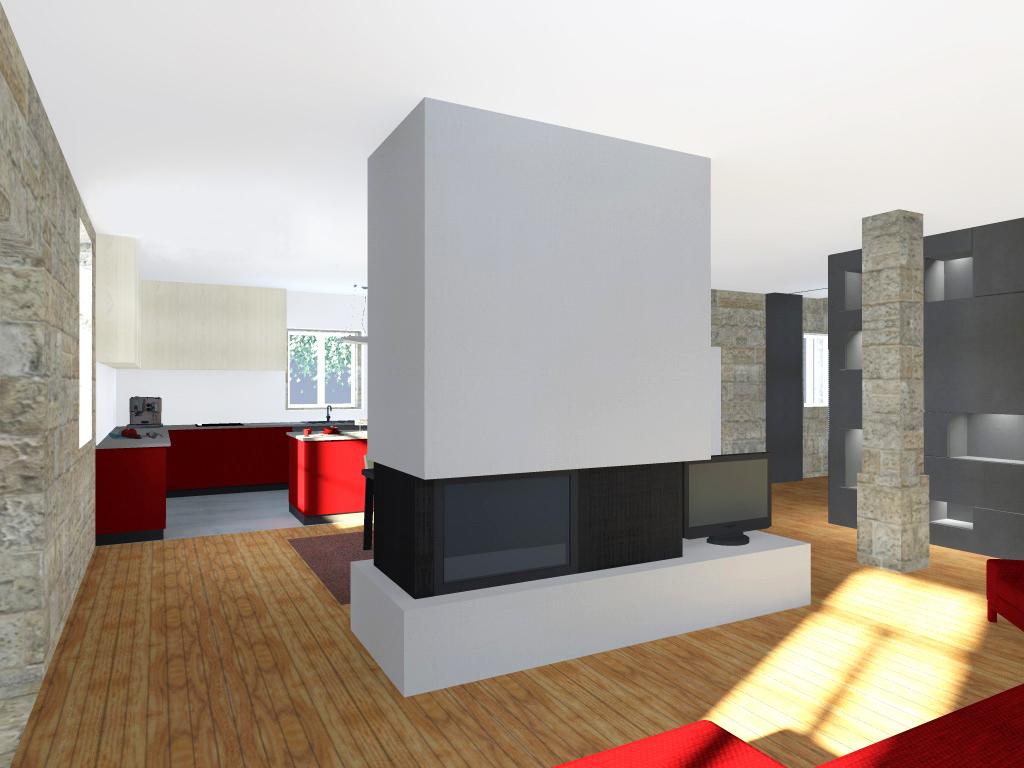 Projecto de Remodelação de Habitação Unifamiliar em Viseu: vista da sala de estar e cozinha ao fundo