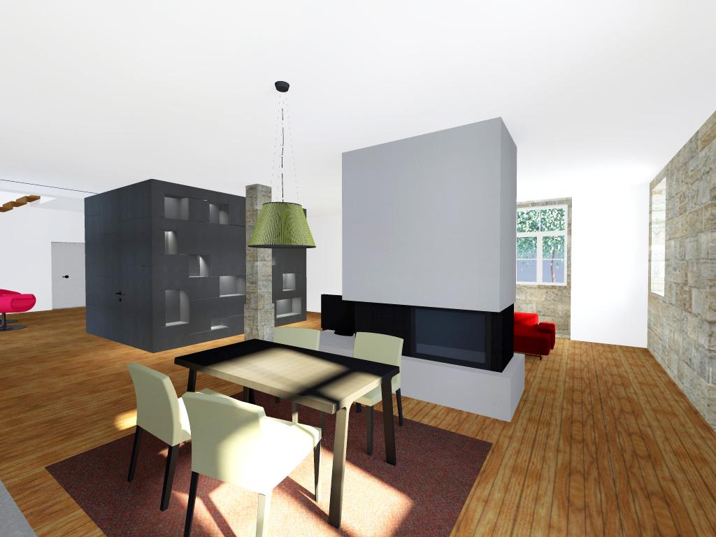 """Projecto de Remodelação de Habitação Unifamiliar em Viseu: sala de refeições com volume central revestido em """"viroc"""""""