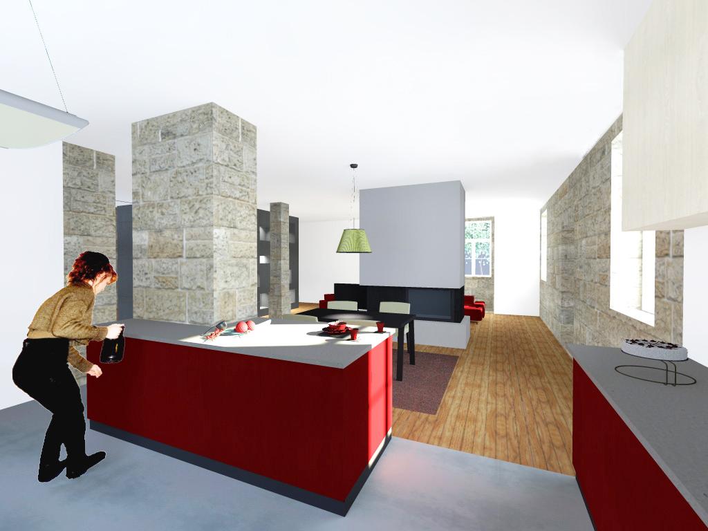 Projecto de Remodelação de Habitação Unifamiliar em Viseu: vista da cozinha e salas ao fundo