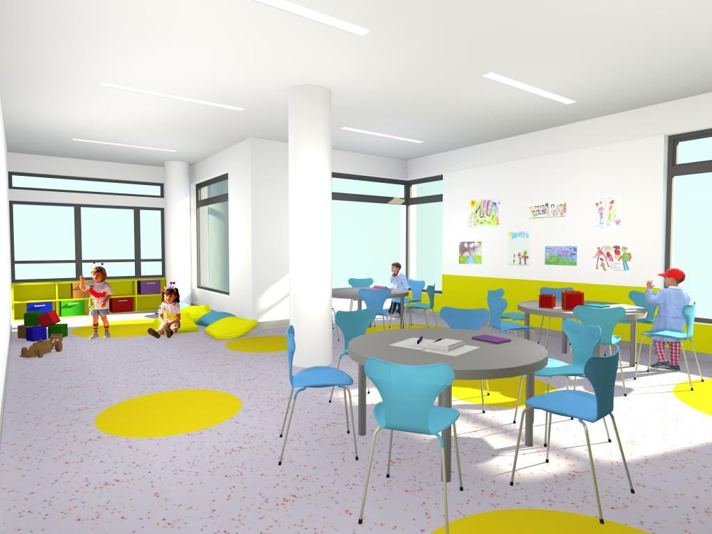 """Projecto de Creche e Jardim de Infância em Chelas """"Os Argonautas"""": vista de uma das salas do Jardim de Infância, onde predomia a cor."""