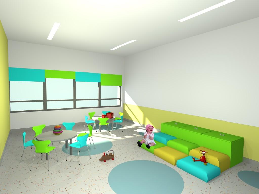 """Projecto de Creche e Jardim de Infância em Chelas """"Os Argonautas"""": vista da sala para crianças com 1 ano de idade, onde predomia a cor."""