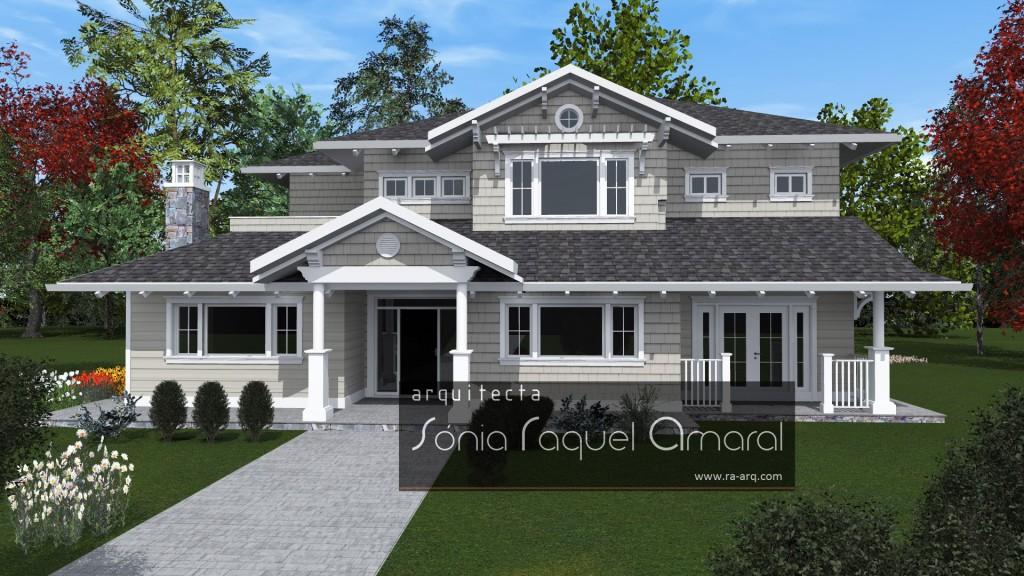 Imagem 3D de Habitação Unifamiliar - Richmond, British Columbia, Canadá: Vista frontal da casa, com a entrada principal