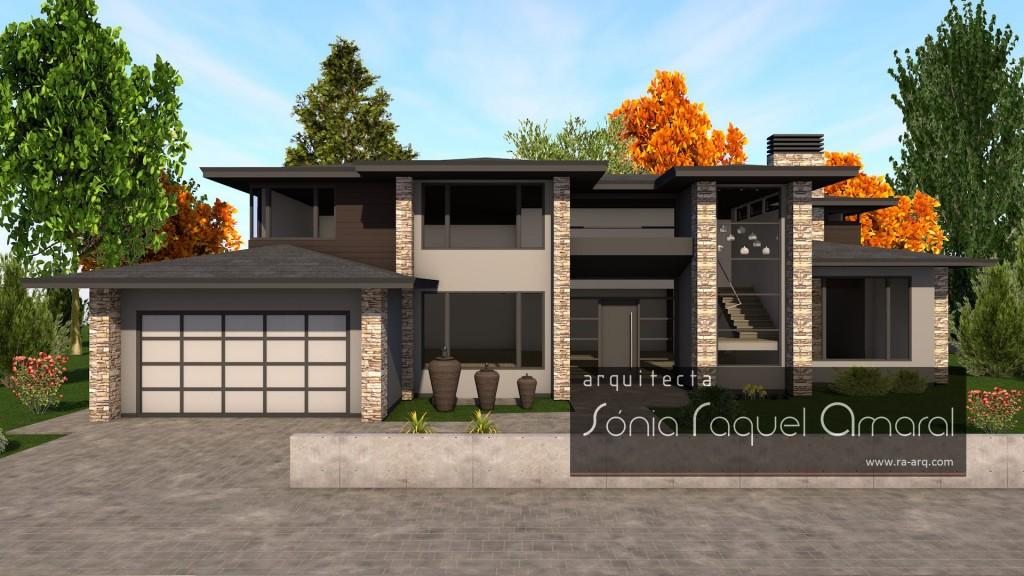 Imagem 3D de Habitação Unifamiliar - Vancouver, British Columbia, Canadá: Vista frontal da casa, com a entrada principal