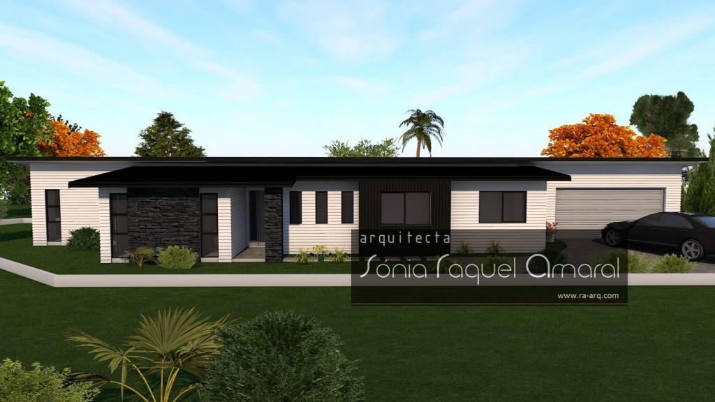 Imagem 3D de Habitação Unifamiliar - Pukekohe, Nova Zelândia: Vista frontal da casa, com a entrada principal
