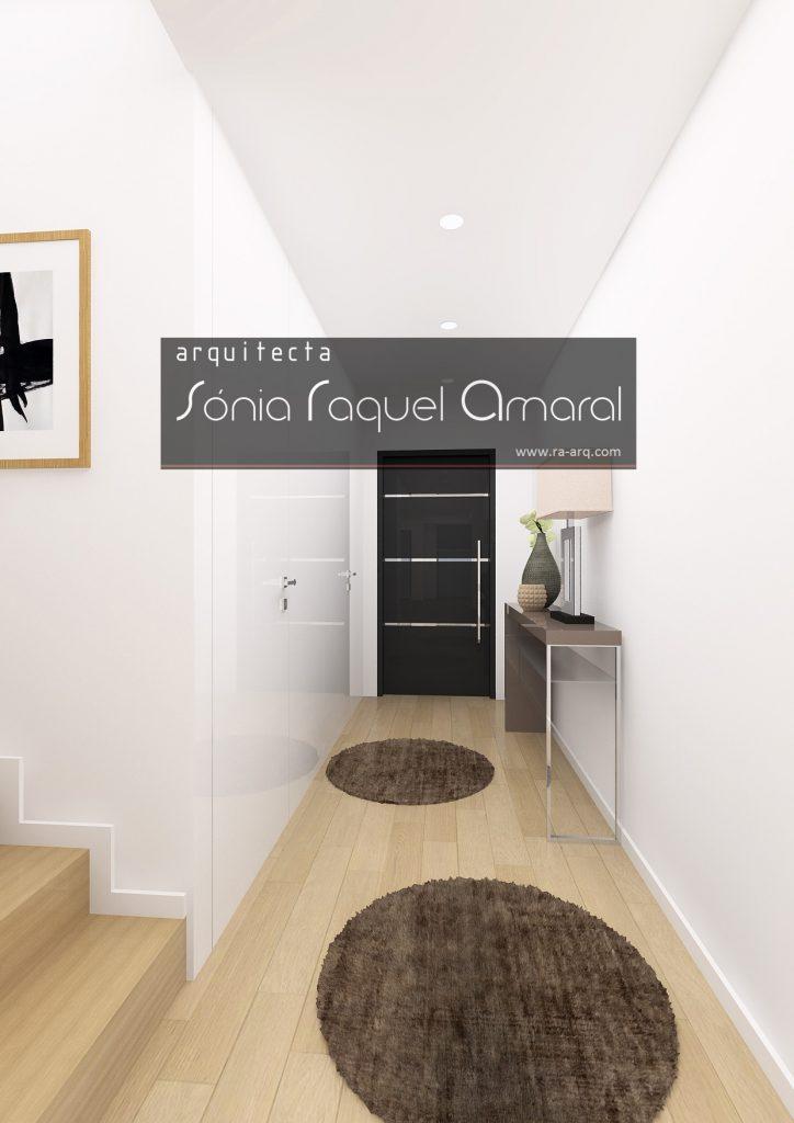 Projecto de Interiores 3D - Habitação em Paris - Issy les Moulineaux: Hall de entrada com consola lacada e pé inox