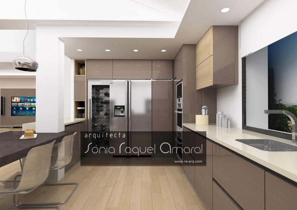 """Projecto de Interiores 3D - Habitação em Paris - Issy les Moulineaux: Cozinha com móveis em termolaminado """"Pierre de Lune"""", tampos da bancada em Silestone """"Haiku"""" e mesa na cor """"Merope"""""""